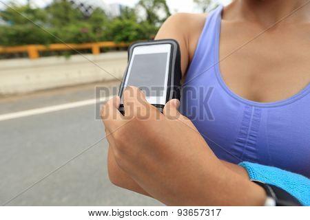 Runner athlete listening to music