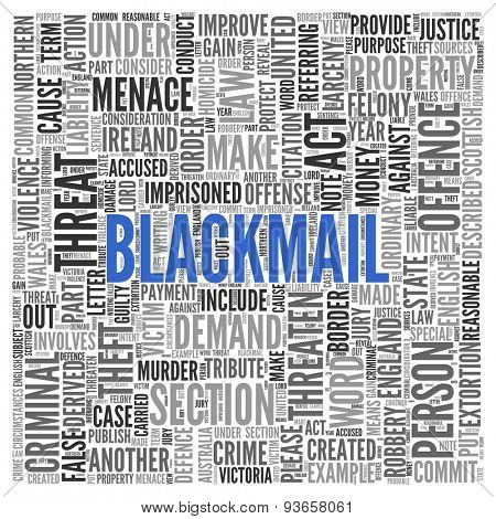 Close up BLACKMAIL Text at the Center of Word Tag Cloud on White Background.