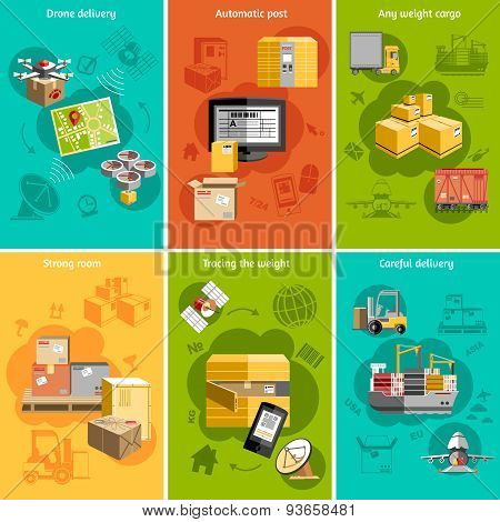 New logistics flat icons composition poster