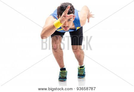 Sports man getting ready to run isolated on a white background