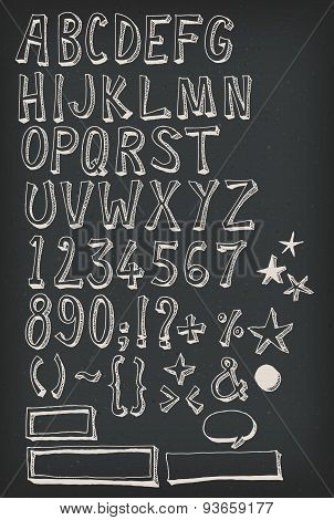 Doodle Complete Alphabet Set On Chalkboard