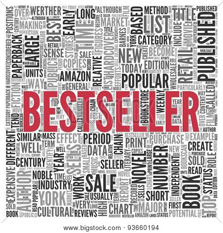 Close up BESTSELLER Text at the Center of Word Tag Cloud on White Background.