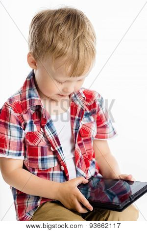 Boy With A Tablet Pc. Studio