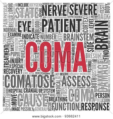 Close up COMA Text at the Center of Word Tag Cloud on White Background.