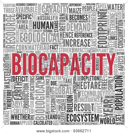 Close up BIOCAPACITY Text at the Center of Word Tag Cloud on White Background.