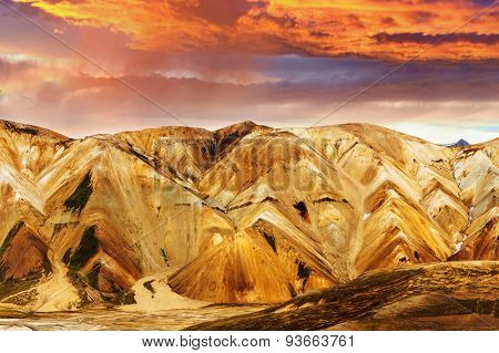 Beautiful multicolored mountains at Landmannalaugar, Iceland. Sunset