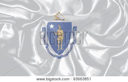Silk Flag Of The State Of Massachusetts