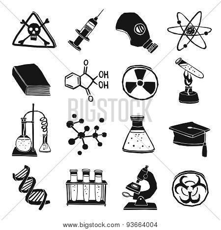 Black and white laboratory chemistry icon set