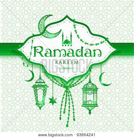 Ramadan Kareem Abstract Green Background.
