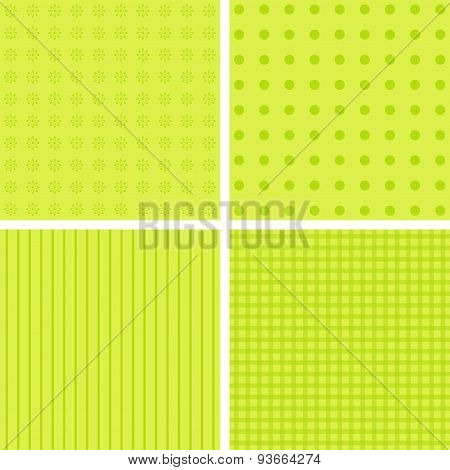 Set Of 4 Cute Green Background Patterns.