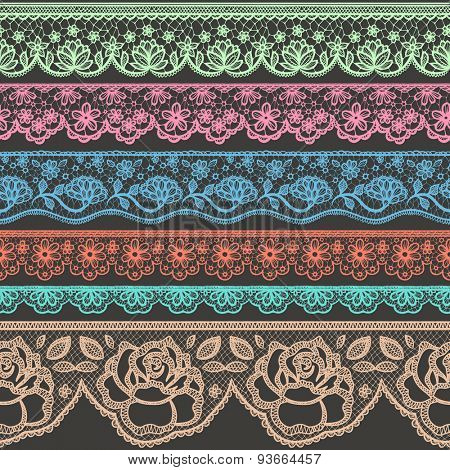 Collection of colorful borders stylized like laces