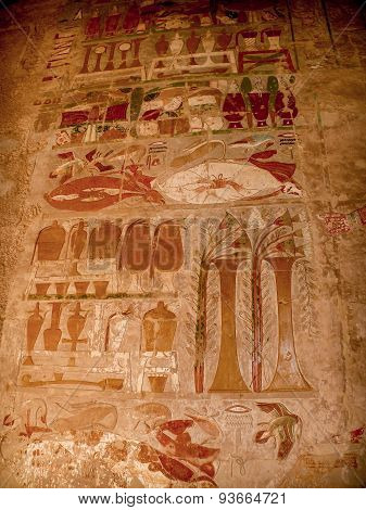 Colored Reliefs At The Temple Of Hatshepsut At Deir El-bahari (e