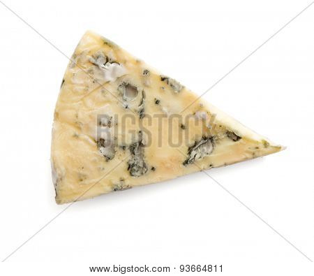 a slice of cheese with mold isolated on white background