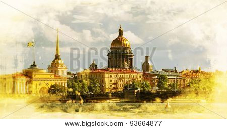 View on the Neva river and St Isaac's Cathedral. St. Petersburg, Russia. Filtered image: vintage effect.