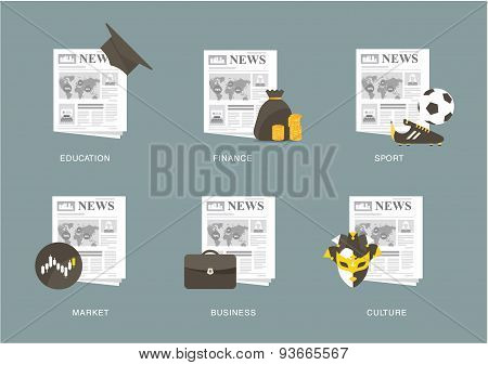 newspaper icon set