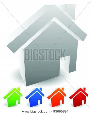 3D House Icons. Editable Vectors. Home, Homepage, Real Estate Themes.