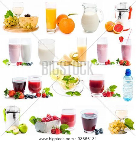 collage of healthy drinks  isolated on a white background
