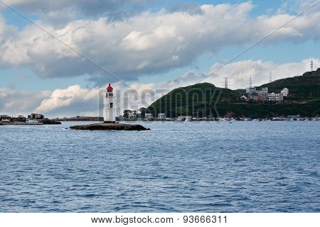 Tokarevskiy lighthouse - a historic landmark in Vladivostok, Russia. Lighthouse began working in 1910 and in June 2015 the lighthouse celebrated 105 years.