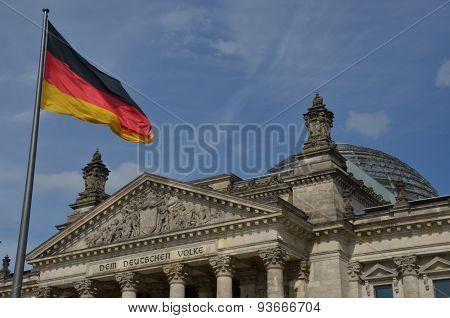 German Flag Above Reichstag