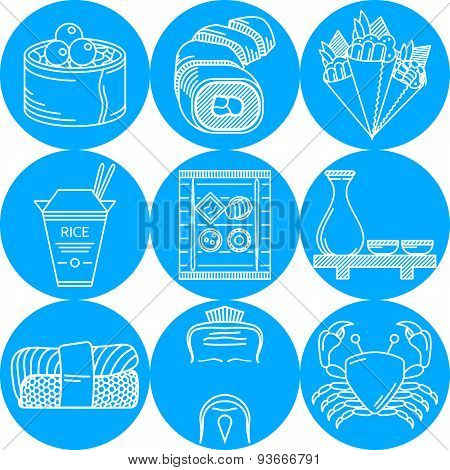 Japanese food blue round vector icons