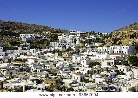Traditional village of Lindos at Rhodes in Greece