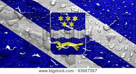 flag of Brod-Posavina with rain drops