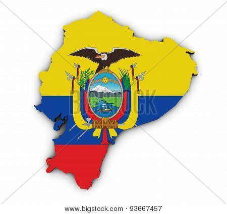 Ecuador Flag Map Shape