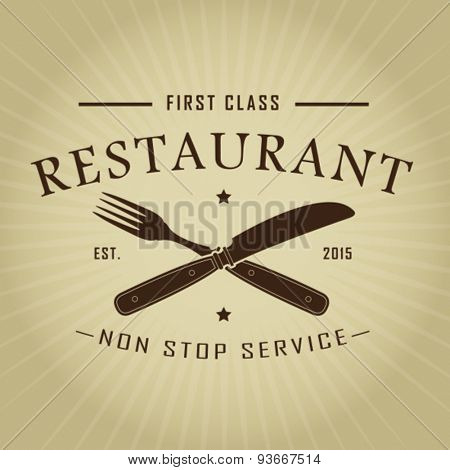 Vintage Retro First Class Restaurant Seal