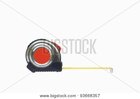 Silver Tape Measure Isolated On White Background