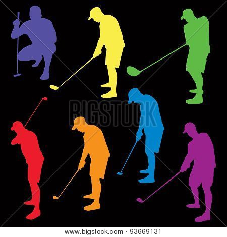 Colorful Golf Silhouettes Illustration