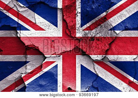Flag Of Uk Painted On Cracked Wall