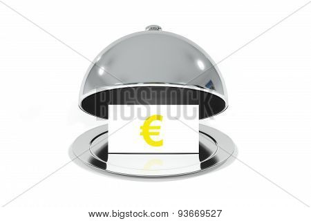 Opened Silver Cloche With White Sign Euro Symbol