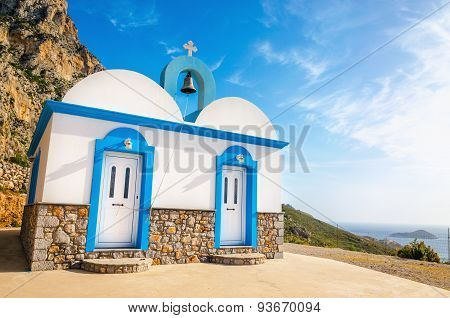 Greek church with iconic blue colors on Kalymnos