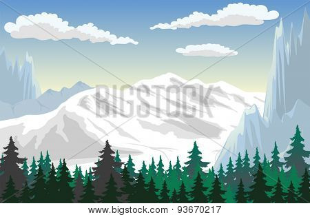 Illustration of a forest at the mountains