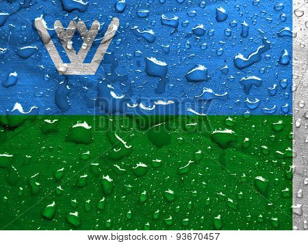 flag of Khanty Mansi Autonomous Okrug with rain drops