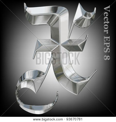 Vector letter X from metal gothic alphabet. Uppercase metal font collection. EPS 8