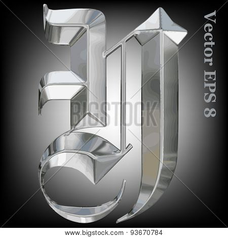 Vector letter Y from metal gothic alphabet. Uppercase metal font collection. EPS 8