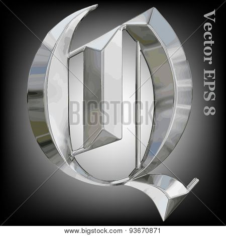 Vector letter Q from metal gothic alphabet. Uppercase metal font collection. EPS 8
