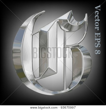 Vector letter G from metal gothic alphabet. Uppercase metal font collection. EPS 8