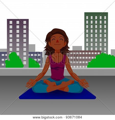 Girl in yoga lotus position.