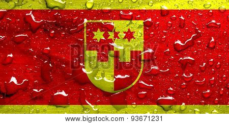 flag of Krapina-Zagorje with rain drops