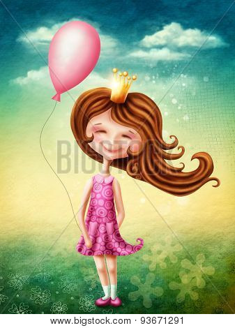Little fairy girl with pink balloon