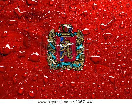 flag of Krasnoyarsk Krai with rain drops