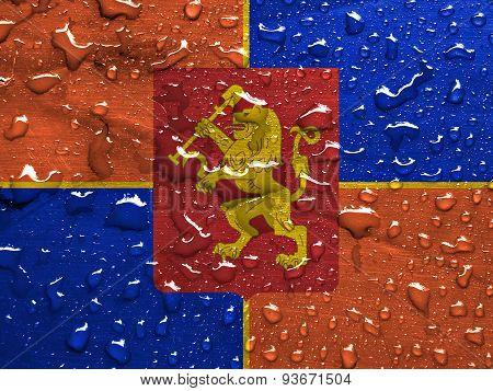 flag of Krasnoyarsk with rain drops
