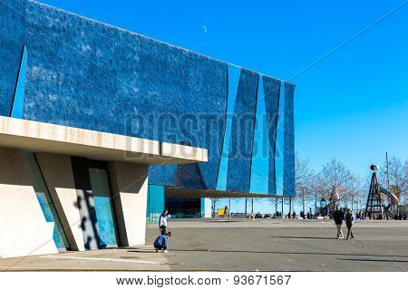 BARCELONA, SPAIN - CIRCA MAY 2015: The Blue Museum in Barcelona, Spain. It has been completely renewed to become, from now on, its new headquarters, the Forum Building.