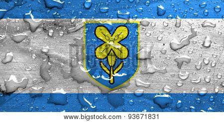 flag of Lika-Senj County with rain drops