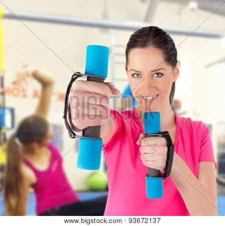 Woman training in a fitness club, close-up.