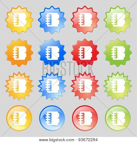 Notepad, Calendar Icon Sign. Set From Fourteen Multi-colored Glass Buttons With Place For Text. Vect