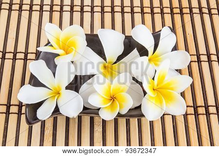 Tropical Plumeria And Therapy On Bamboo Mat