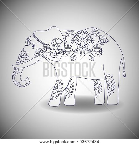 Indian elephant with beautiful pattern.